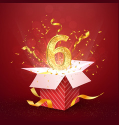 6 th year number anniversary and open gift box vector