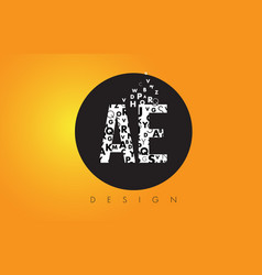 Ae a d logo made of small letters with black vector