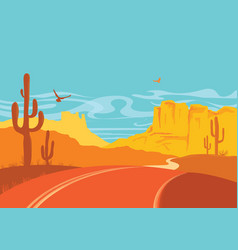 american road in desert in sun day with blue sky vector image