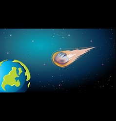 Asteroid falling to earth scene vector