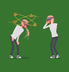 augmented reality man having nausea and negative vector image
