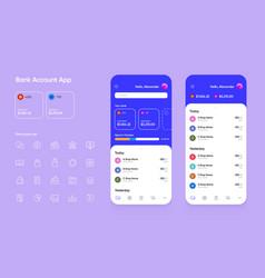 Banking app user interface ui for smartphones vector