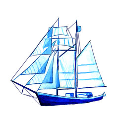 big blue watercolor sail ship vector image