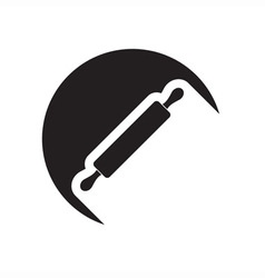 Black icon with rolling pin vector