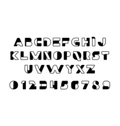 black of stylized modern font and alphabet vector image