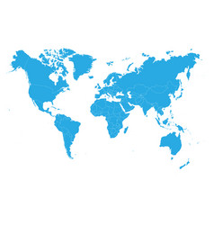 Blue world map on white background high detail vector