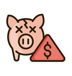 Broken piggy bank crisis financial business stock vector