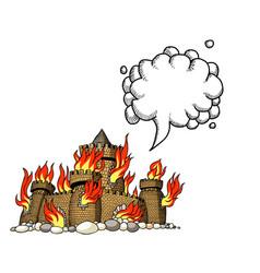 burning castle-100 vector image