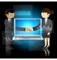 businessman and woman shaking hands and laptop vector image