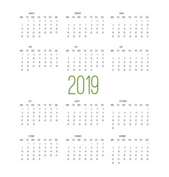 calendar 2019 week starts from sunday business vector image