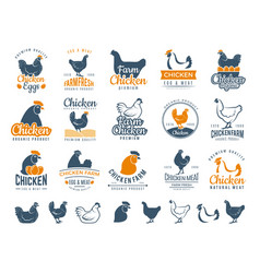 Chicken badges fresh farm food logotype cooking vector