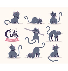 Collection of of cute gray cat in various po vector