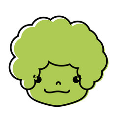 Color boy head with curly hair and happy face vector