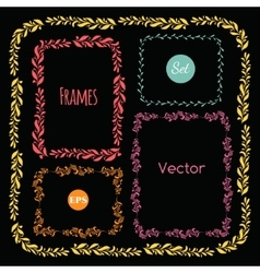 Color hand drawn frames set elements vector