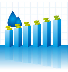 Colorful business graph with water drops vector