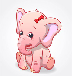 Cute infant pink elephant sitting and smiling baby vector