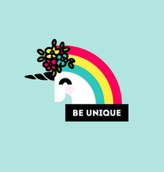 cute unicorn head with flower arrangement vector image