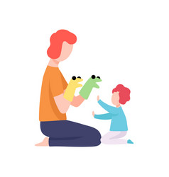 Dad and his son having fun with puppet toys vector