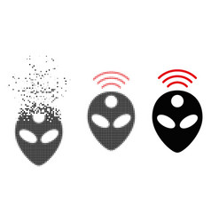 Dispersed dotted halftone alien head icon vector