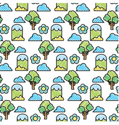 Doodle trees with mountains and bushes plants vector