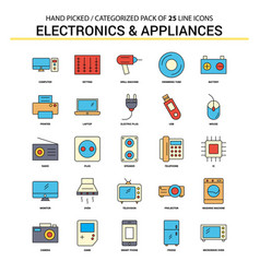 electronics and appliances flat line icon set vector image
