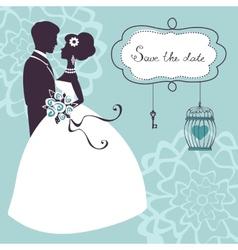 Elegant wedding couple in silhouette vector
