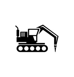 Excavator with hammer drill machine flat vector