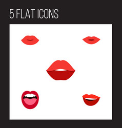 flat icon mouth set of tongue laugh lips and vector image