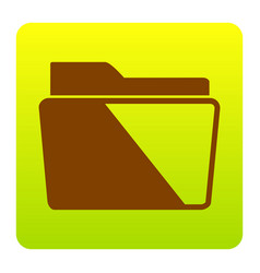 folder sign brown icon at vector image