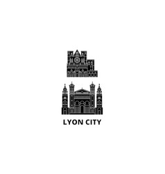 France lyon city flat travel skyline set france vector