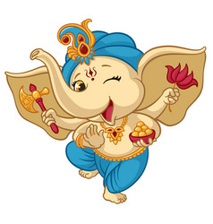 Ganesha elephant cartoon baby vector
