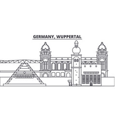 Germany wuppertal line skyline vector