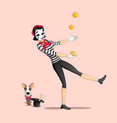 Girl mime performance vector