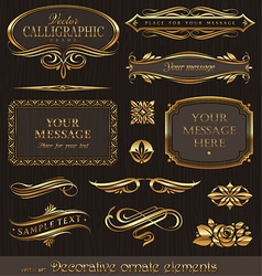 Golden decorative design elements vector