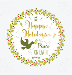 Green and golden happy holidays peace on earth vector