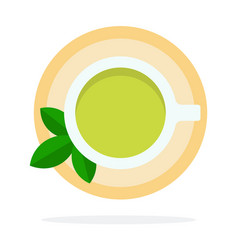 green tea with mint top view vector image