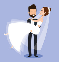 Groom carrying bride holding her in his arms love vector