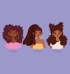 Group black women with curly hair different style vector