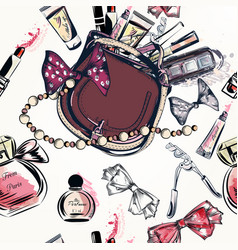 Hand drawn female bag and cosmetics lipstick vector
