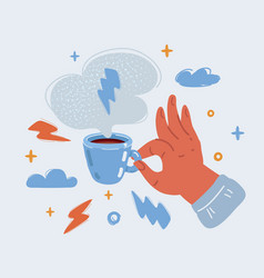 Hands holding cups vector