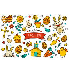 happy easter doodle elements design easter set vector image