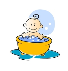 Happy little baby having a bath vector image