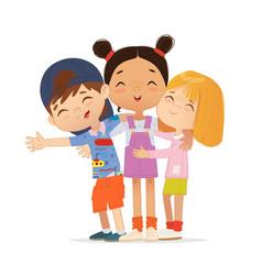 Happy multi aged friends hug each other school vector