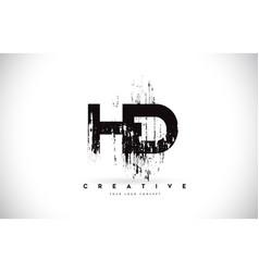 Hd h d grunge brush letter logo design in black vector
