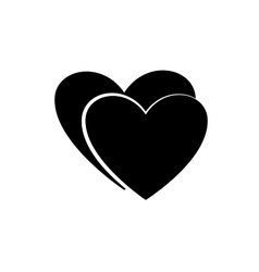 Heart couple black icon vector image