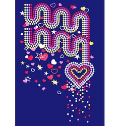 Hearts and rainbows with sequins vector