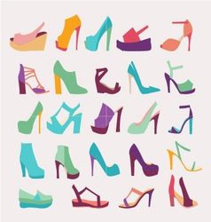 High Heels Women Shoes Set vector image