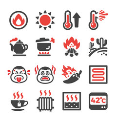 Hot icon set vector