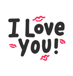 I love you inspirational lettering with red doodle vector