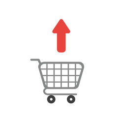 icon concept of arrow moving outside shopping cart vector image